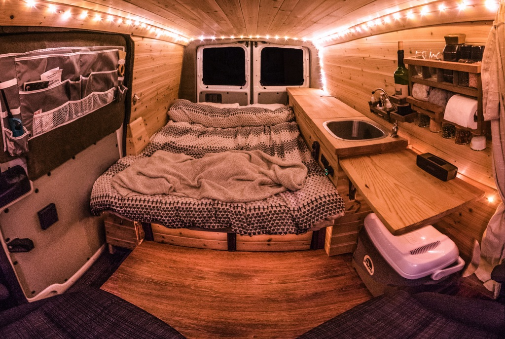 wide angle view of inside of the van