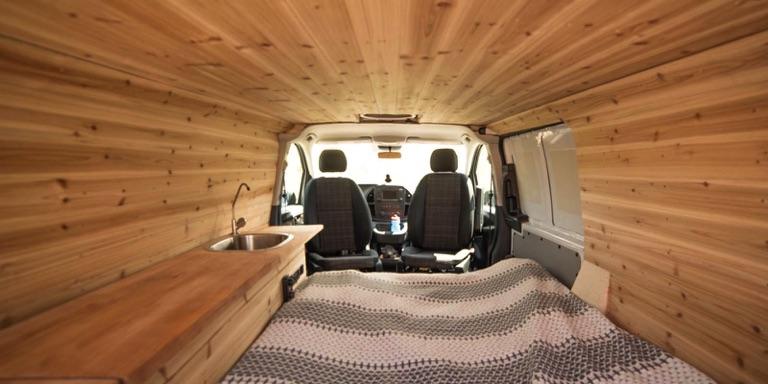 camper van cedar wall paneling