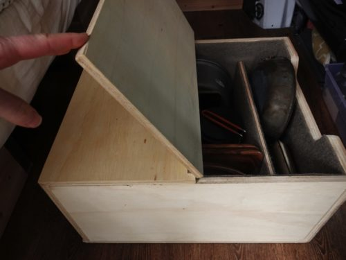storage box lid opens and closes on hinges