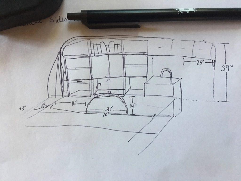 hand drawn sketch of van interior
