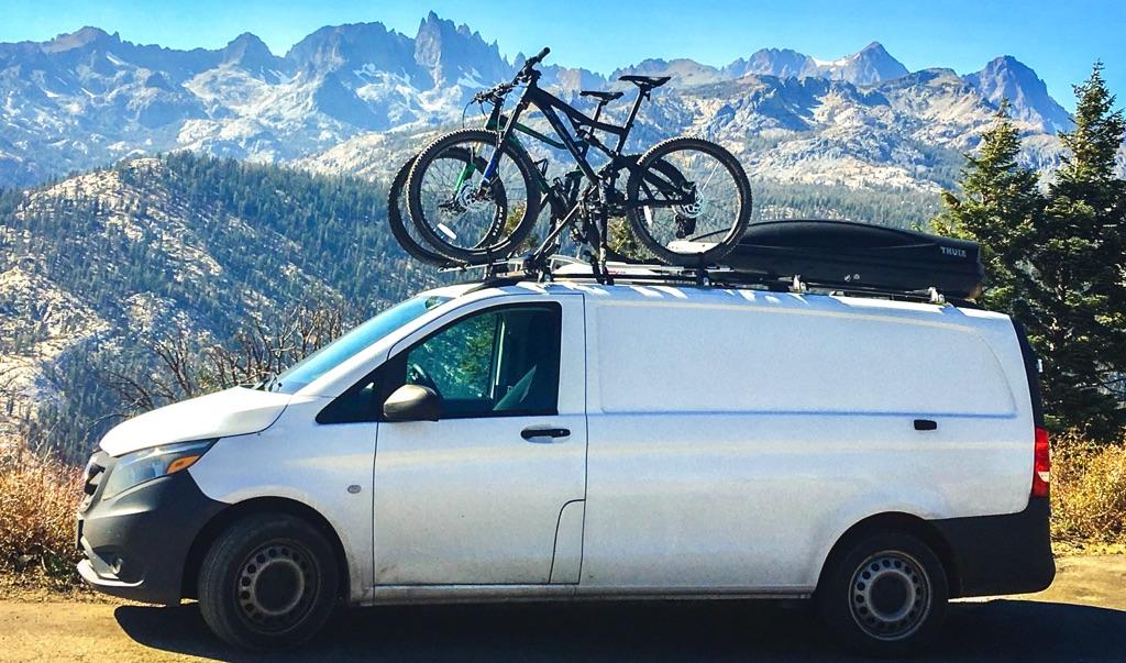 mercedes metris camper van with bikes on top