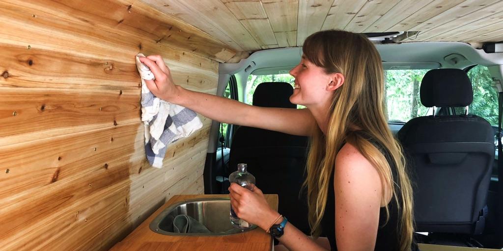 Staining cedar wall panels in camper van