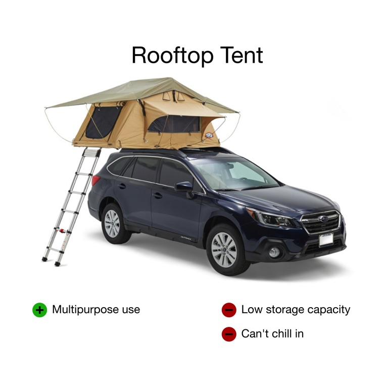 subaru with a rooftop tent