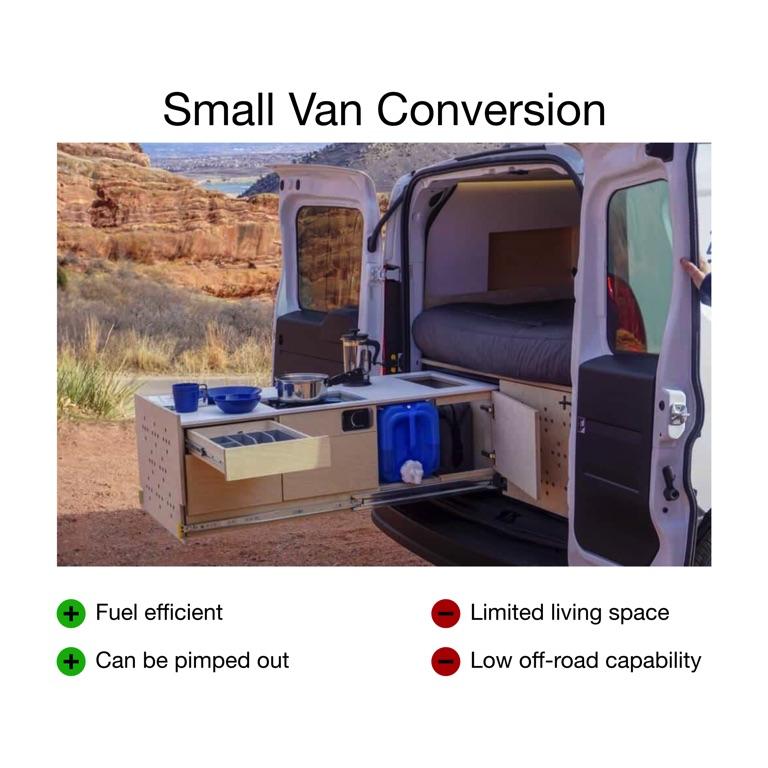 small van conversion kitchen setup