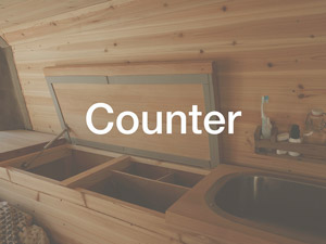 Wood counter storage