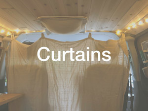Privacy curtain in front of van