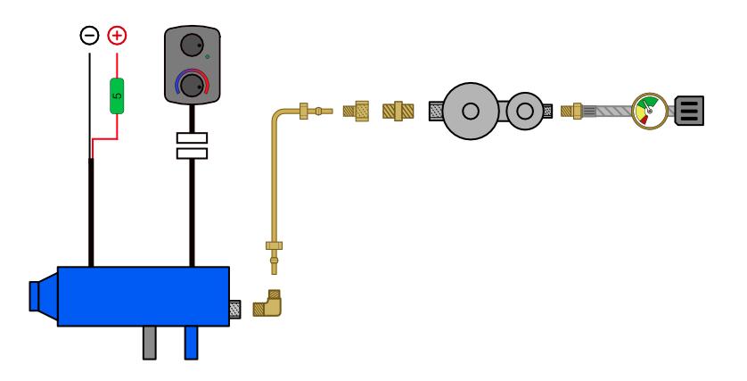 Camper van propane heating system diagram