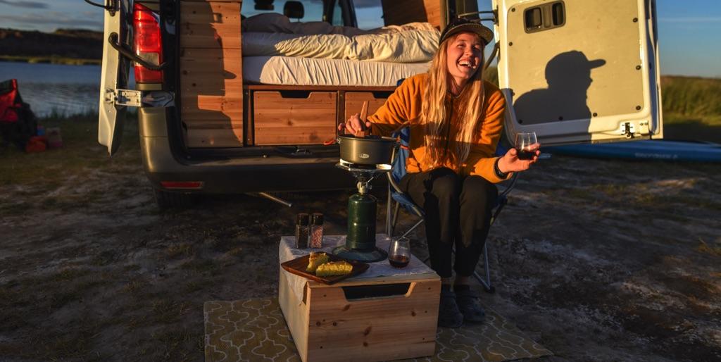 cooking food outside of the camper van