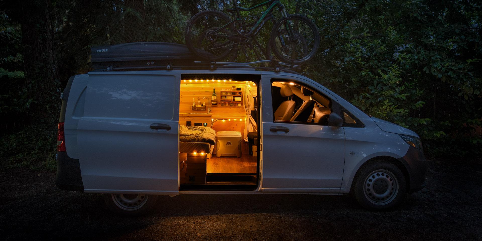 mercedes metris camper conversion at night