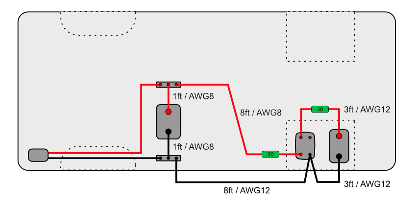 Electrical Layout annotated for camper van battery