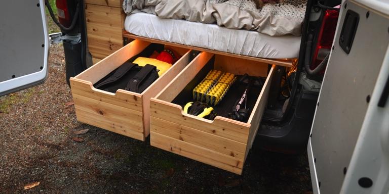 camper van rear slide out drawers open